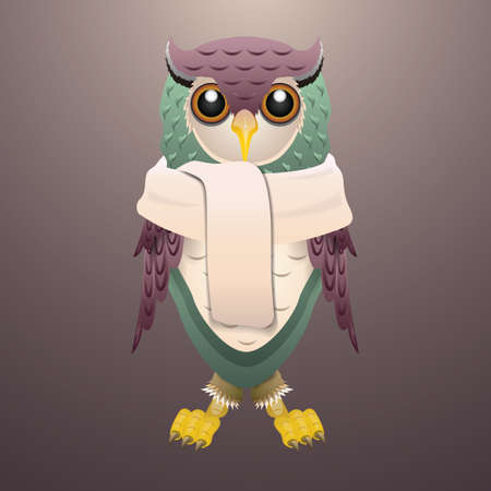 wearing: owl wearing scarf