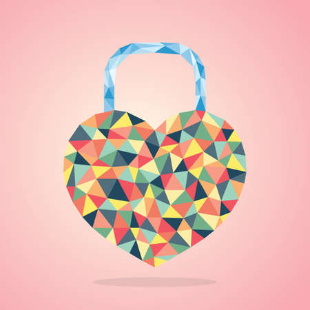 faceted: faceted heart shaped padlock Illustration