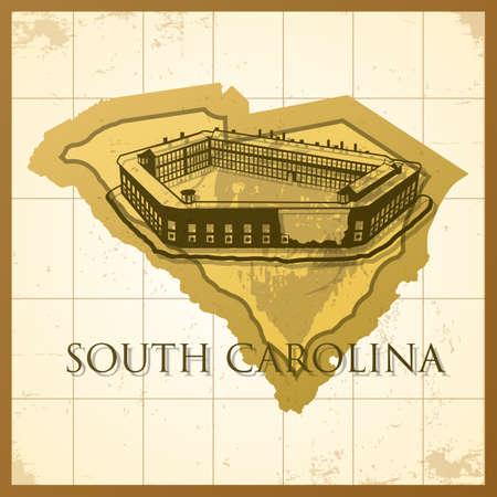 carolina: map of south carolina state