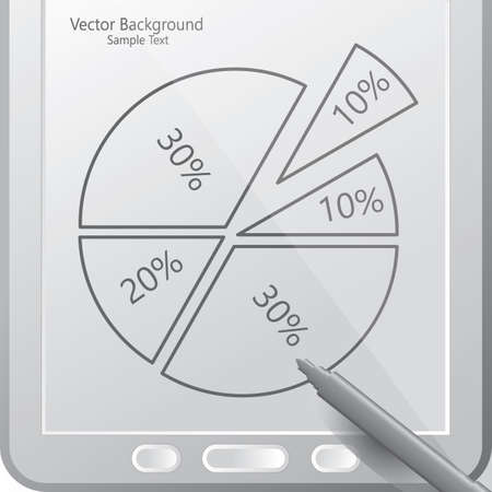 stylus: pie chart in a tablet with stylus,