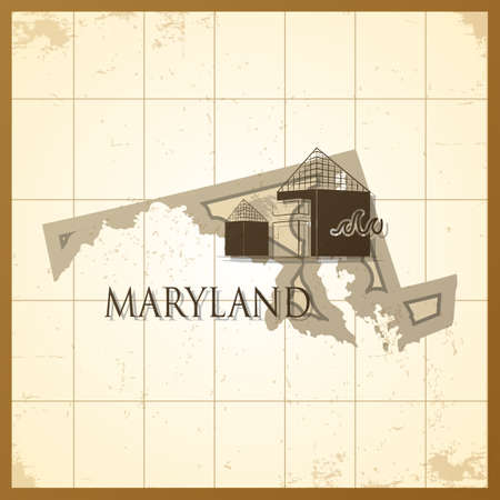 maryland: map of maryland state Illustration