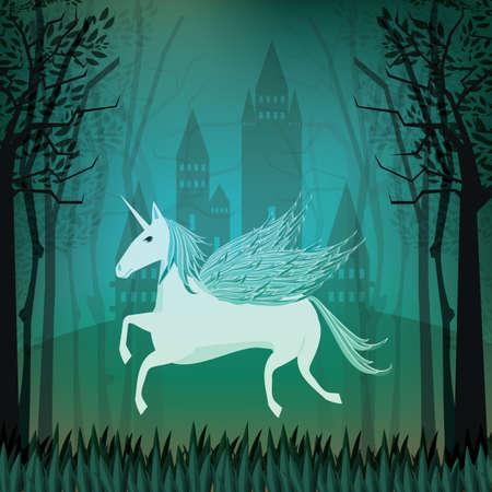 fantasy: fantasy castle with unicorn