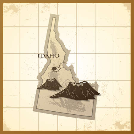 idaho state: map of idaho state Illustration