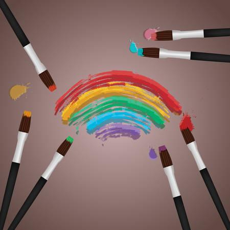 rainbow: paint brush with rainbow