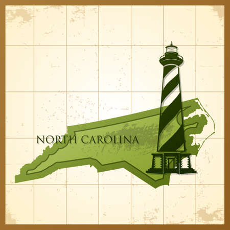 hatteras: map of north carolina state Illustration