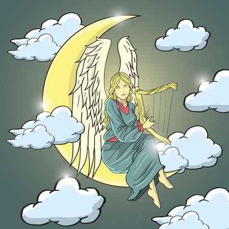 moon angels: angel sitting on moon