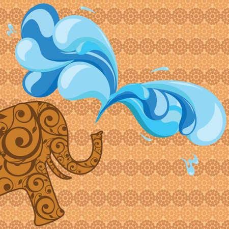 splashing water: elephant splashing water