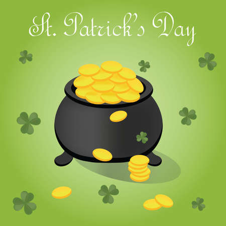 st  patrick's day: st patricks day poster with pot of gold coins