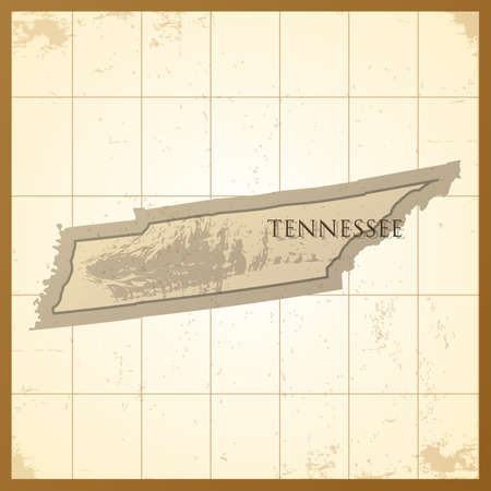 tennessee: map of tennessee state Illustration