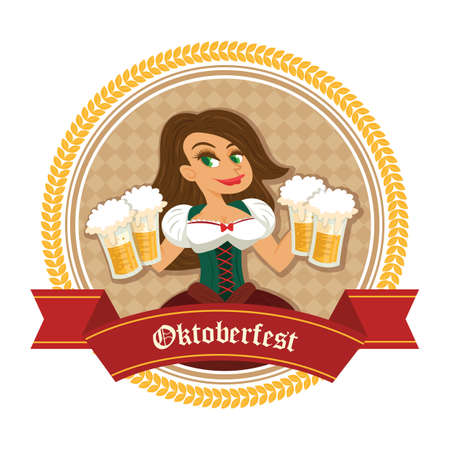 beer mugs: woman holding beer mugs Illustration