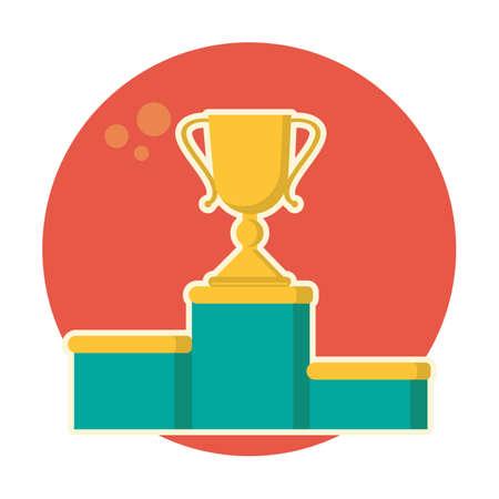 winner podium: golden trophy on winner podium