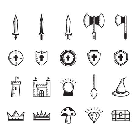 double headed: set of fantasy icons