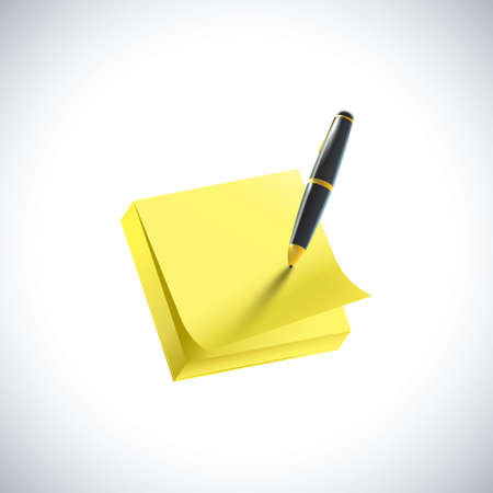 sticky note: sticky note and pen