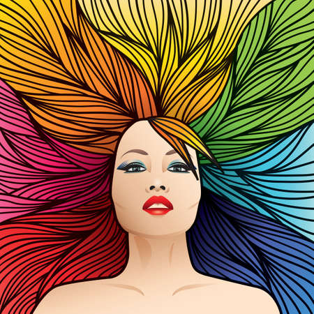 make up model: rainbow colored hairstyle
