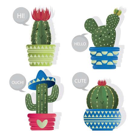 spines: set of cactus plants in a pot Illustration