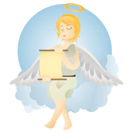 scroll: angel reading scroll