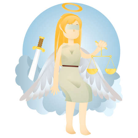 blindfold: angel of justice holding balance scale