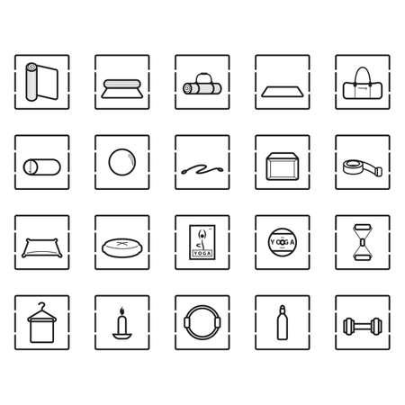 yoga pillows: assorted exercise icon set