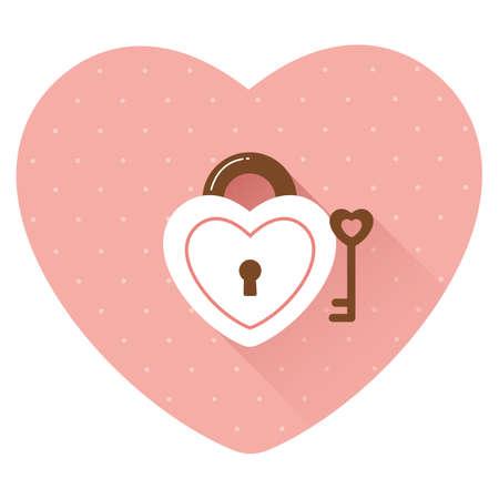 unlocking: heart shaped padlock and key Illustration