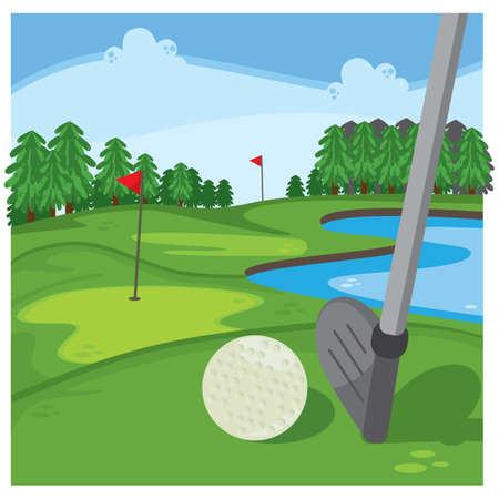 putting green: golf course with golf ball and club Illustration