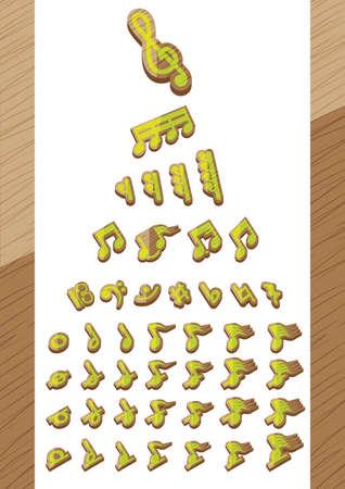 set of musical notes Illustration