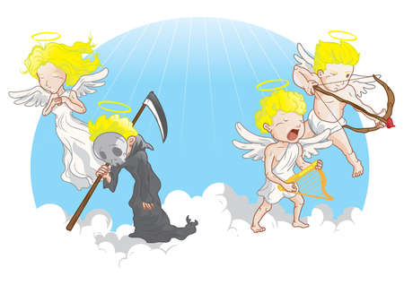 reaper: angel with grim reaper and cupid