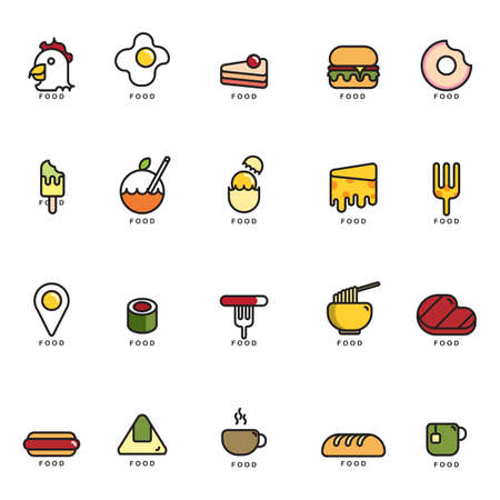 fried noodles: set of food icons