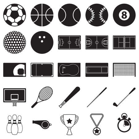 snooker cues: set of sports icons