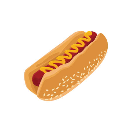 sesame seeds: hot dog Illustration