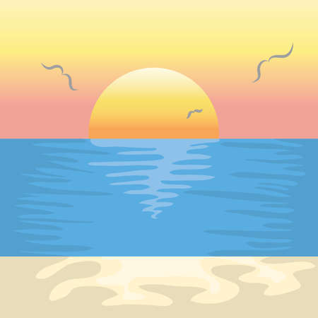 birds scenery: sunset background