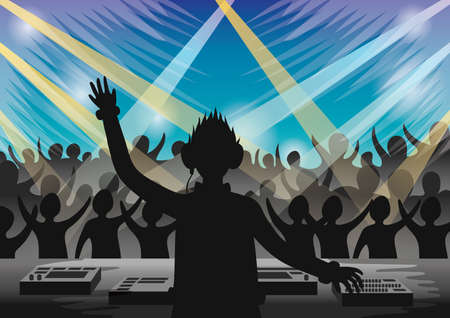 enjoyment: dj entertaining the audiences Illustration