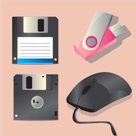 floppy drive: computer peripheral set Illustration
