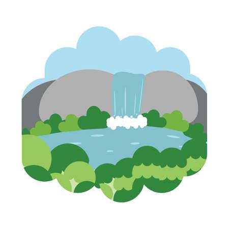 scenics: waterfall scenery Illustration