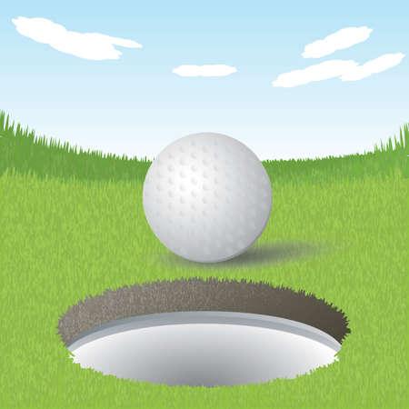hole: golf ball near the hole
