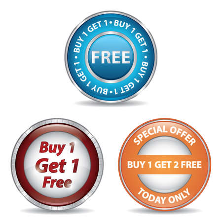 buy one: collection of buy one get one free labels