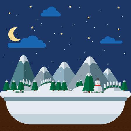 snowfalls: winter landscape Illustration