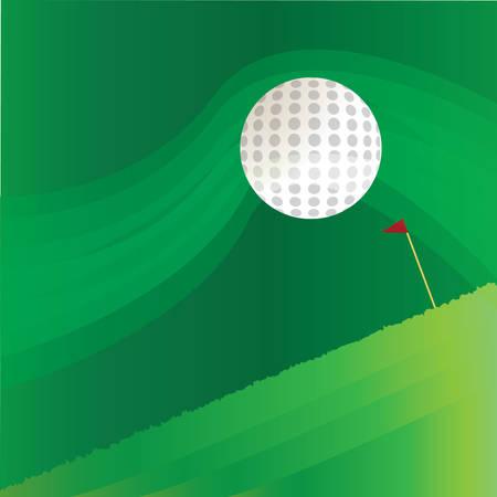 palo de bandera de golf y la pelota en el fondo abstracto