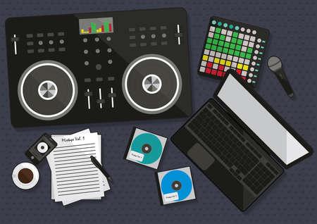 cd case: set of dj musical equipment Illustration