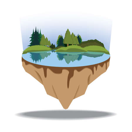 floating island: lake on a floating island