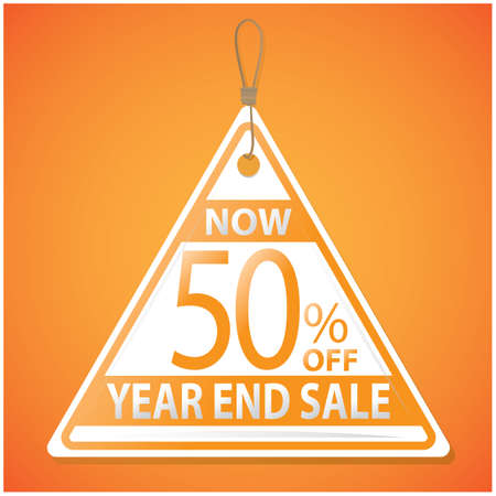 end: year end sale tag Illustration
