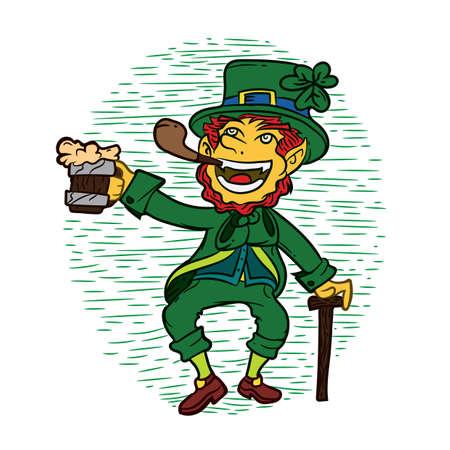 cigar smoking man: leprechaun with beer mug