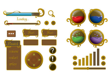 search box: set of web buttons Illustration