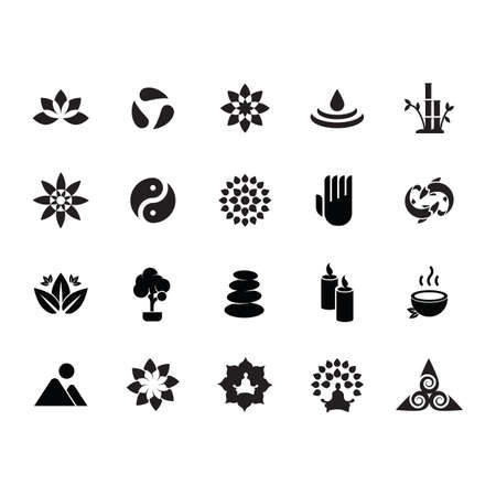 silhouette of zen icon set Illustration