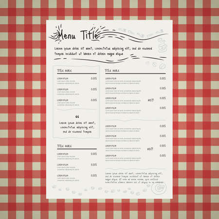 ristorante carta del menu