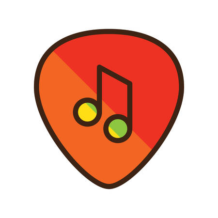 guitar pick: guitar pick with beam note Illustration