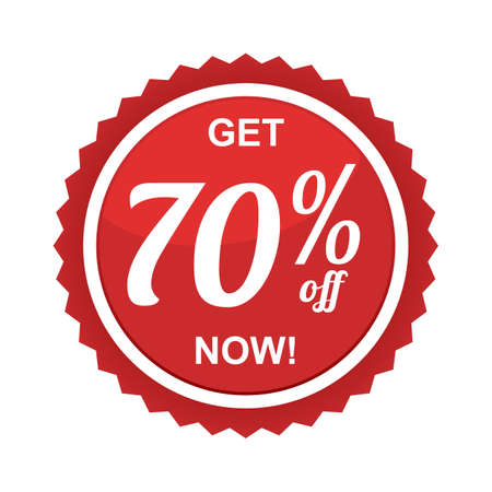 seventy: seventy percent offer label Illustration
