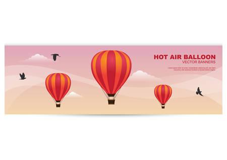 the hot: hot air balloon banner Illustration