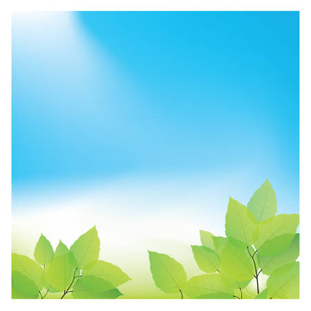 copyspaces: green leaves against blue sky Illustration