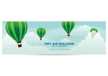 hot air balloon banner Illustration