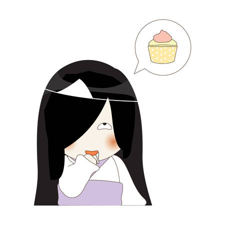 japanese dessert: ghost thinking about cupcake Illustration